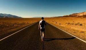 man walking alone
